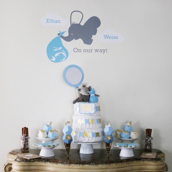 Kara's Party Ideas Geometric Blue + Gold Elephant Baby Shower