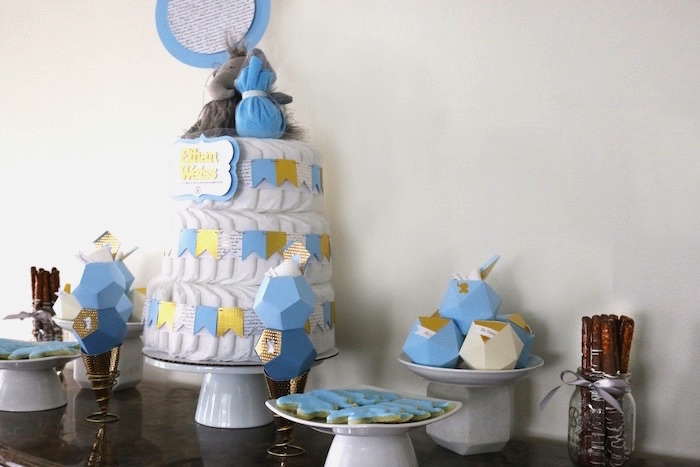 Head Table from a Geometric Blue & Gold Elephant Baby Shower via Kara's Party Ideas KarasPartyIdeas.com (11)