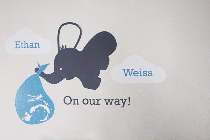Decal Backdrop from a Geometric Blue & Gold Elephant Baby Shower via Kara's Party Ideas KarasPartyIdeas.com (10)