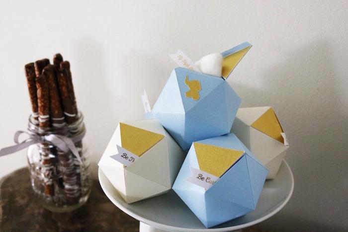 Favors + Washcloth truffle gift set with gold elephant monogram from a Geometric Blue & Gold Elephant Baby Shower via Kara's Party Ideas KarasPartyIdeas.com (8)