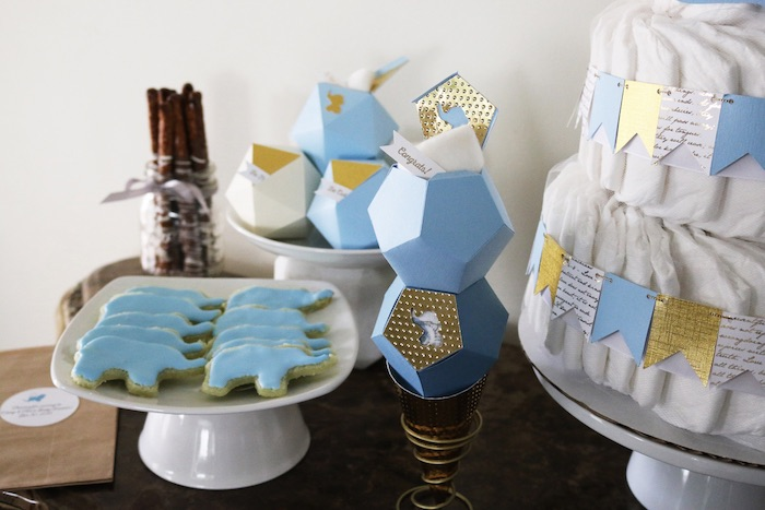 Items from a Geometric Blue & Gold Elephant Baby Shower via Kara's Party Ideas KarasPartyIdeas.com (7)