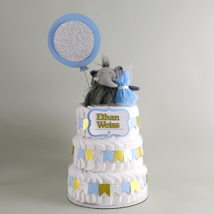Diaper Cake from a Geometric Blue & Gold Elephant Baby Shower via Kara's Party Ideas KarasPartyIdeas.com (5)