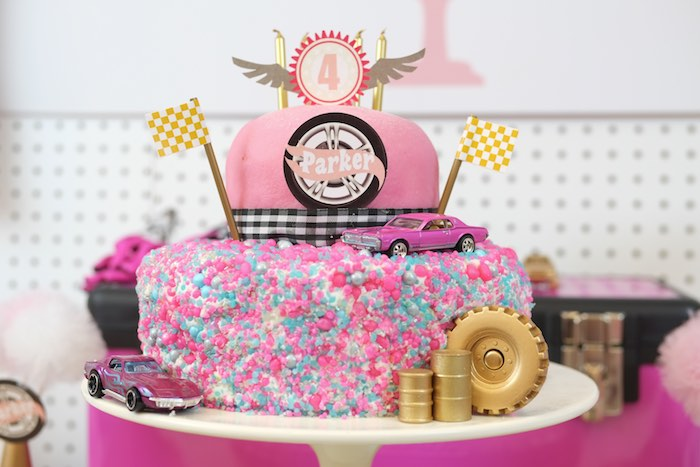 Cake from a Girly Race Car Birthday Party via Kara's Party Ideas | KarasPartyIdeas.com (31)