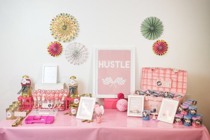 Favor Table from a Girly Race Car Birthday Party via Kara's Party Ideas | KarasPartyIdeas.com (28)
