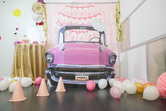 Car Photo Op from a Girly Race Car Birthday Party via Kara's Party Ideas | KarasPartyIdeas.com (40)