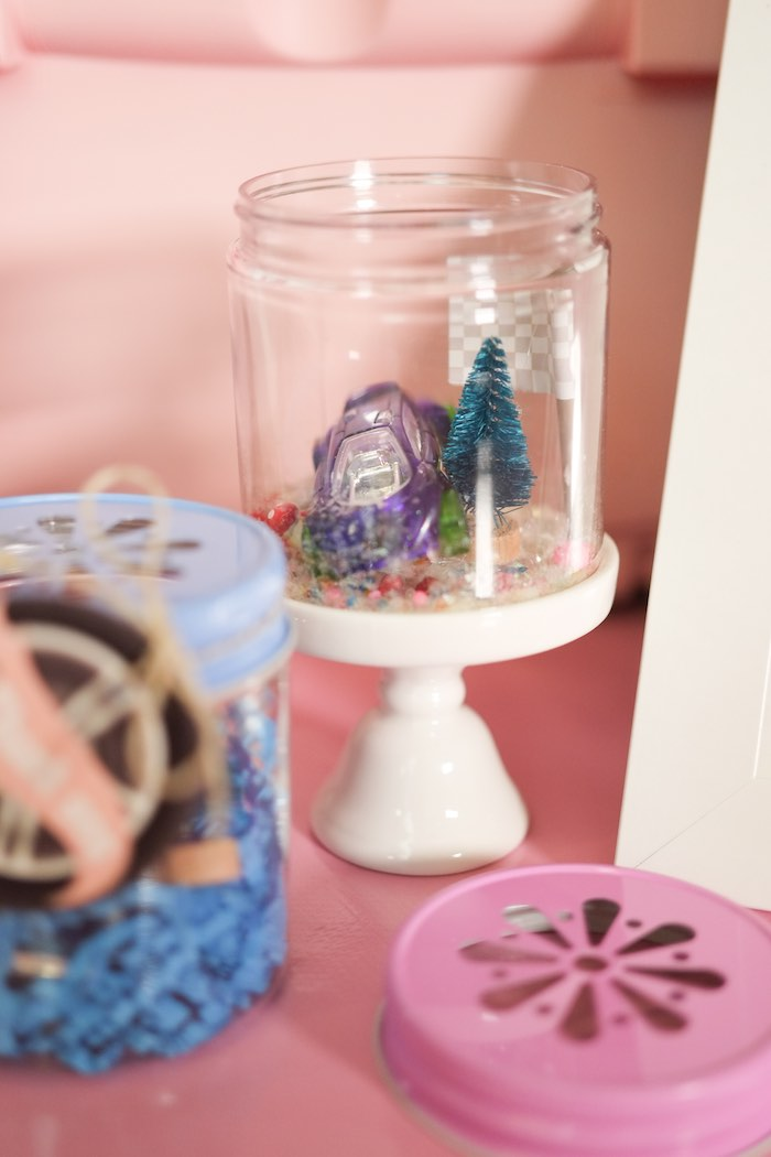 Car-rarium Favor Jars from a Girly Race Car Birthday Party via Kara's Party Ideas | KarasPartyIdeas.com (21)
