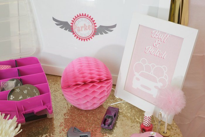 Buff & Polish Station Details from a Girly Race Car Birthday Party via Kara's Party Ideas | KarasPartyIdeas.com (16)