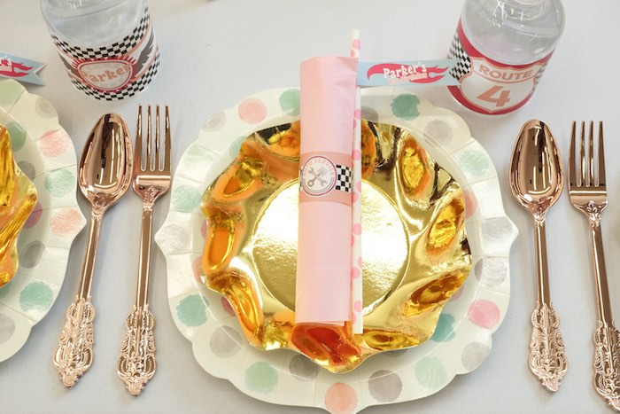 Place Setting from a Girly Race Car Birthday Party via Kara's Party Ideas | KarasPartyIdeas.com (12)