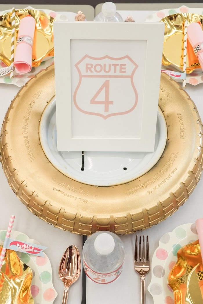 Guest Table Centerpiece + Sign from a Girly Race Car Birthday Party via Kara's Party Ideas | KarasPartyIdeas.com (11)