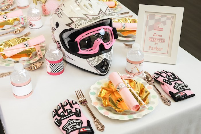 Birthday Girl Place Setting from a Girly Race Car Birthday Party via Kara's Party Ideas | KarasPartyIdeas.com (9)