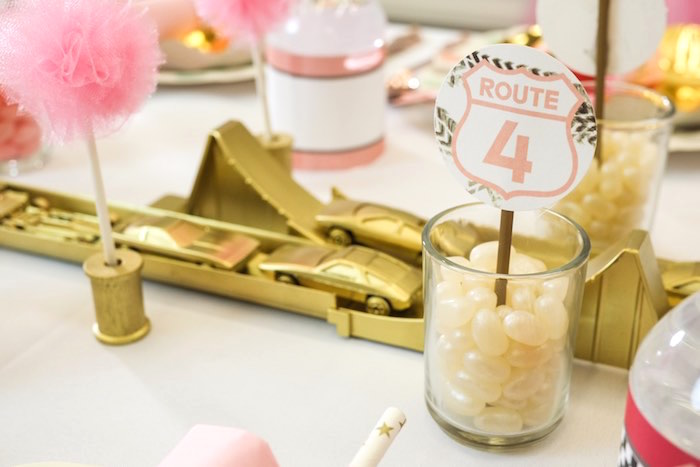 Dining Table Detail from a Girly Race Car Birthday Party via Kara's Party Ideas | KarasPartyIdeas.com (8)