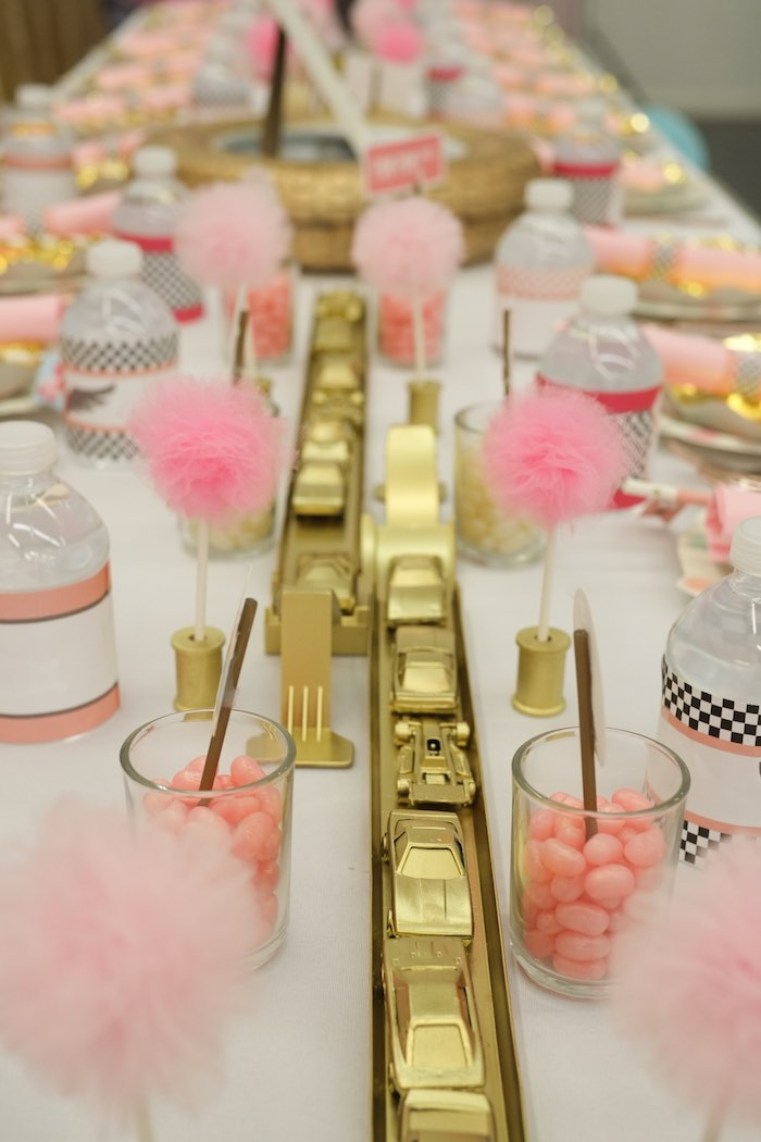 Race Track Centerpieces from a Girly Race Car Birthday Party via Kara's Party Ideas | KarasPartyIdeas.com (7)