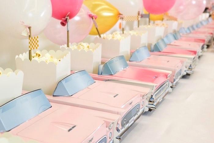 Popcorn Row from a Girly Race Car Birthday Party via Kara's Party Ideas | KarasPartyIdeas.com (4)
