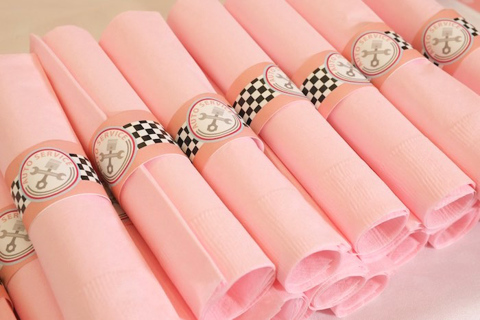 Napkins from a Girly Race Car Birthday Party via Kara's Party Ideas | KarasPartyIdeas.com (3)