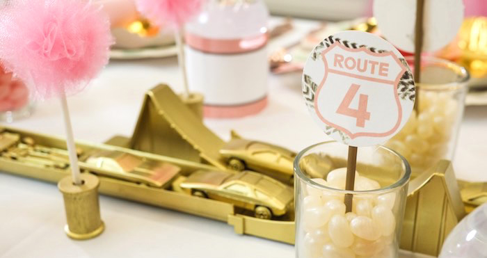 Dining Table Detail from a Girly Race Car Birthday Party via Kara's Party Ideas | KarasPartyIdeas.com (2)