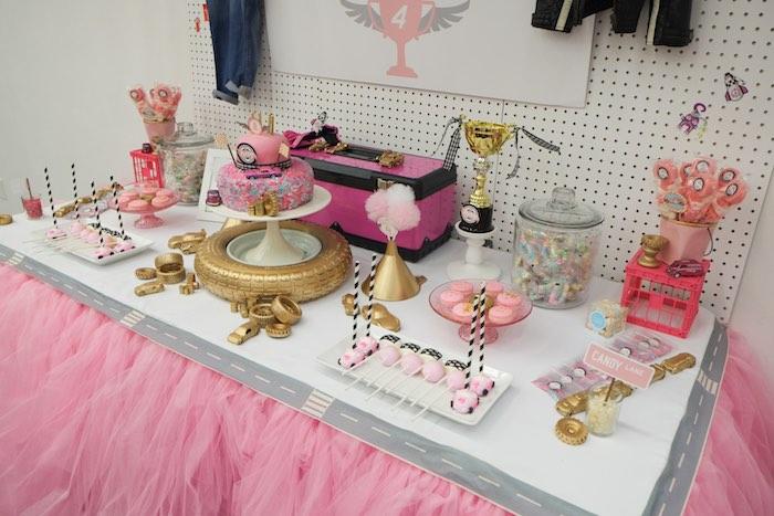 Sweet Table from a Girly Race Car Birthday Party via Kara's Party Ideas | KarasPartyIdeas.com (38)