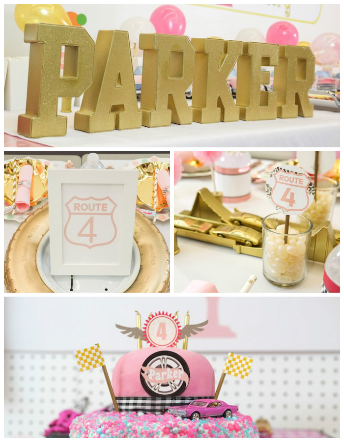 Girly Race Car Birthday Party via Kara's Party Ideas | KarasPartyIdeas.com (1)