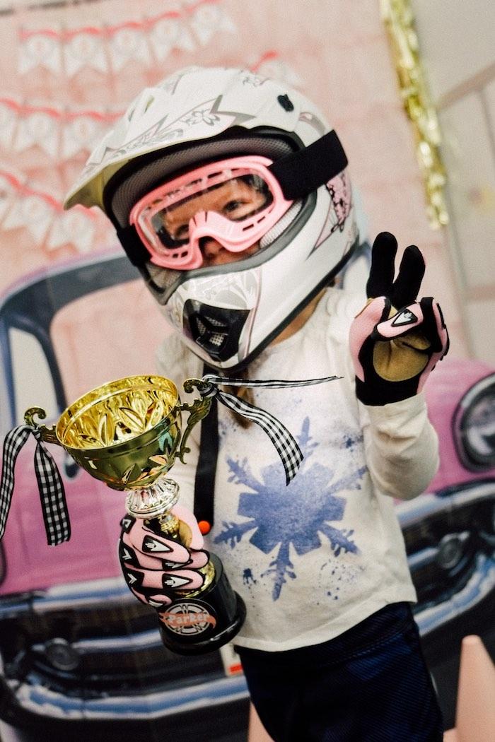 Birthday Girl from a Girly Race Car Birthday Party via Kara's Party Ideas | KarasPartyIdeas.com (36)