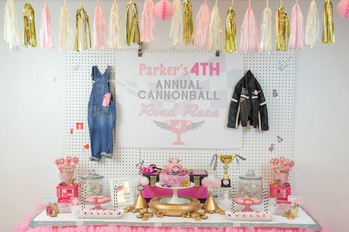 Sweet Table from a Girly Race Car Birthday Party via Kara's Party Ideas | KarasPartyIdeas.com (35)