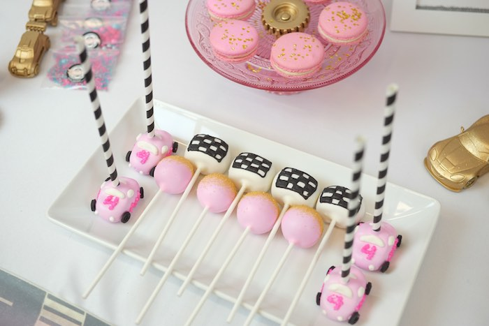 Cake Pops from a Girly Race Car Birthday Party via Kara's Party Ideas | KarasPartyIdeas.com (33)