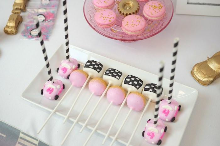 Cake Pops from a Girly Race Car Birthday Party via Kara's Party Ideas | KarasPartyIdeas.com (33)