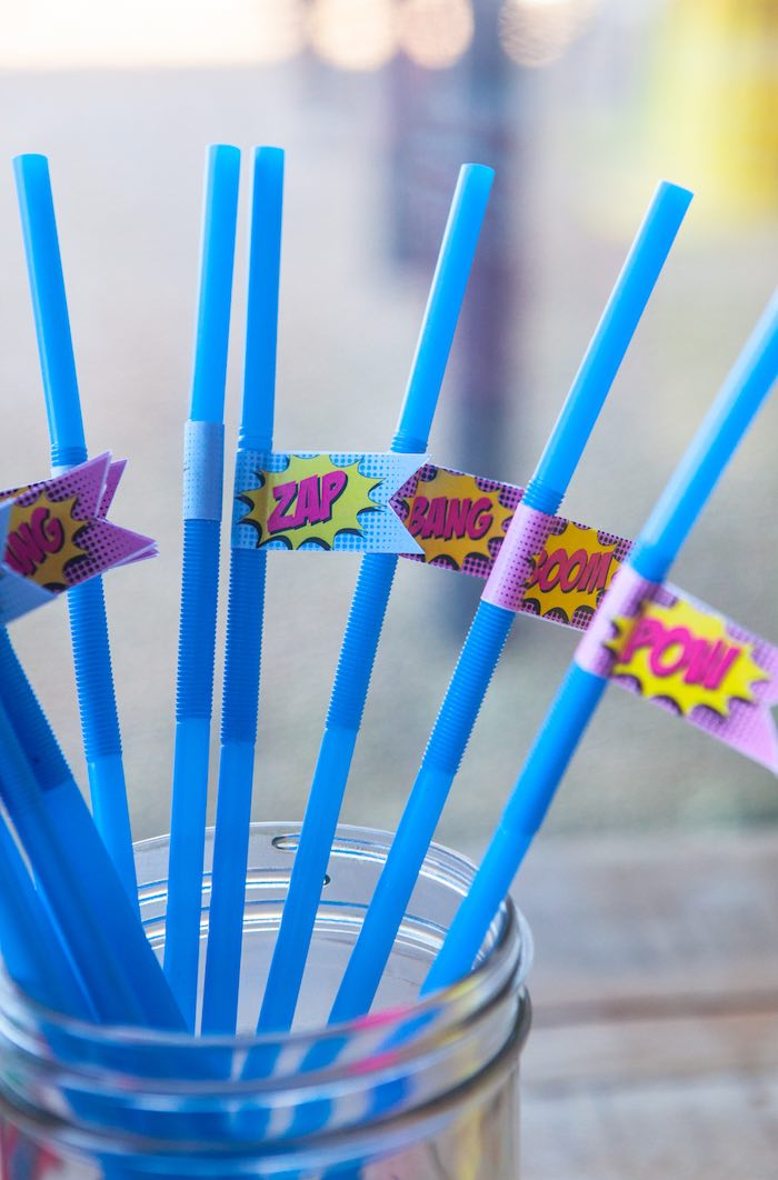 Straws from a Girly Superhero Birthday Party via Kara's Party Ideas KarasPartyIdeas.com (1)