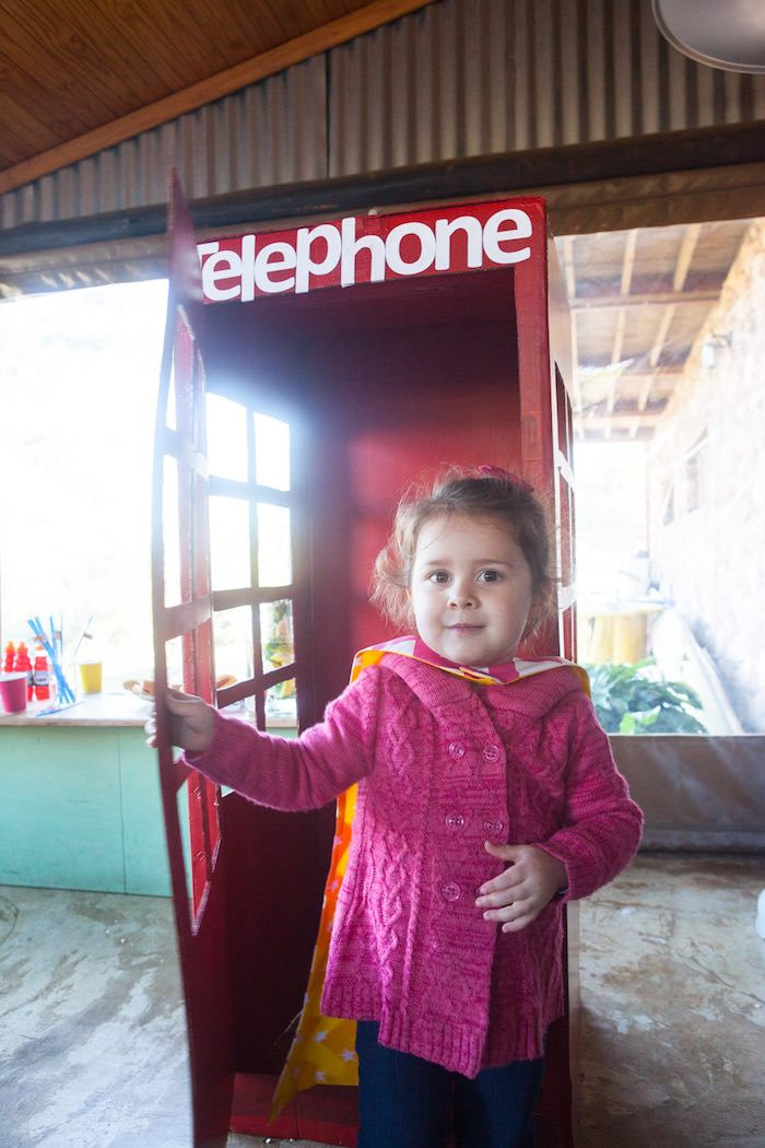 Telephone Booth from a Girly Superhero Birthday Party via Kara's Party Ideas KarasPartyIdeas.com (7)
