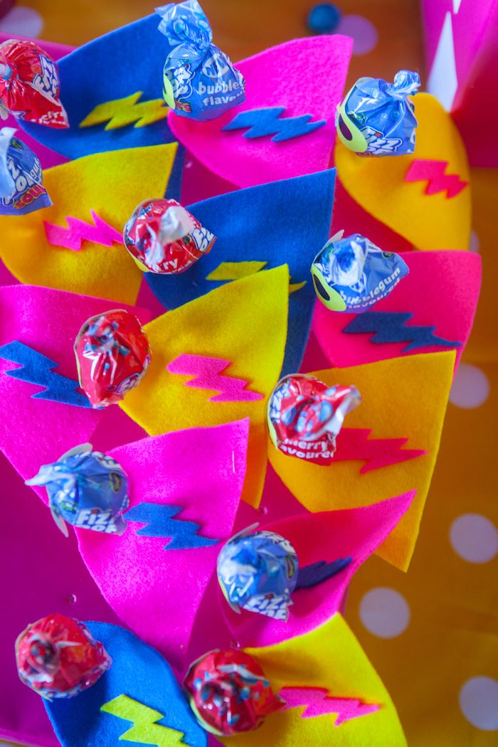 Superhero Lollipops from a Girly Superhero Birthday Party via Kara's Party Ideas KarasPartyIdeas.com (6)