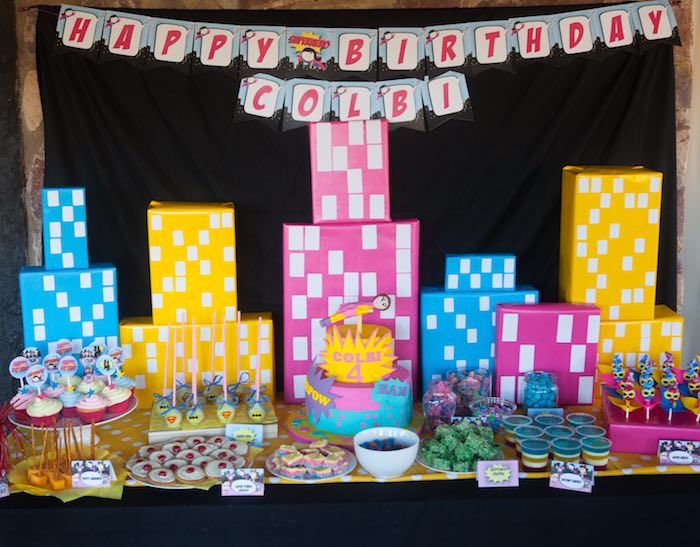 Sweet Table Display from a Girly Superhero Birthday Party via Kara's Party Ideas KarasPartyIdeas.com (21)
