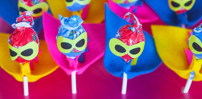 Lollipop Superheroes from a Girly Superhero Birthday Party via Kara's Party Ideas KarasPartyIdeas.com (3)