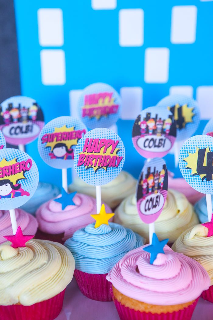 Cupcakes from a Girly Superhero Birthday Party via Kara's Party Ideas KarasPartyIdeas.com (18)