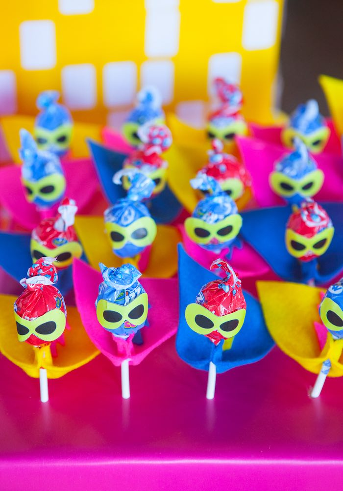 Lollipop Superheroes from a Girly Superhero Birthday Party via Kara's Party Ideas KarasPartyIdeas.com (17)