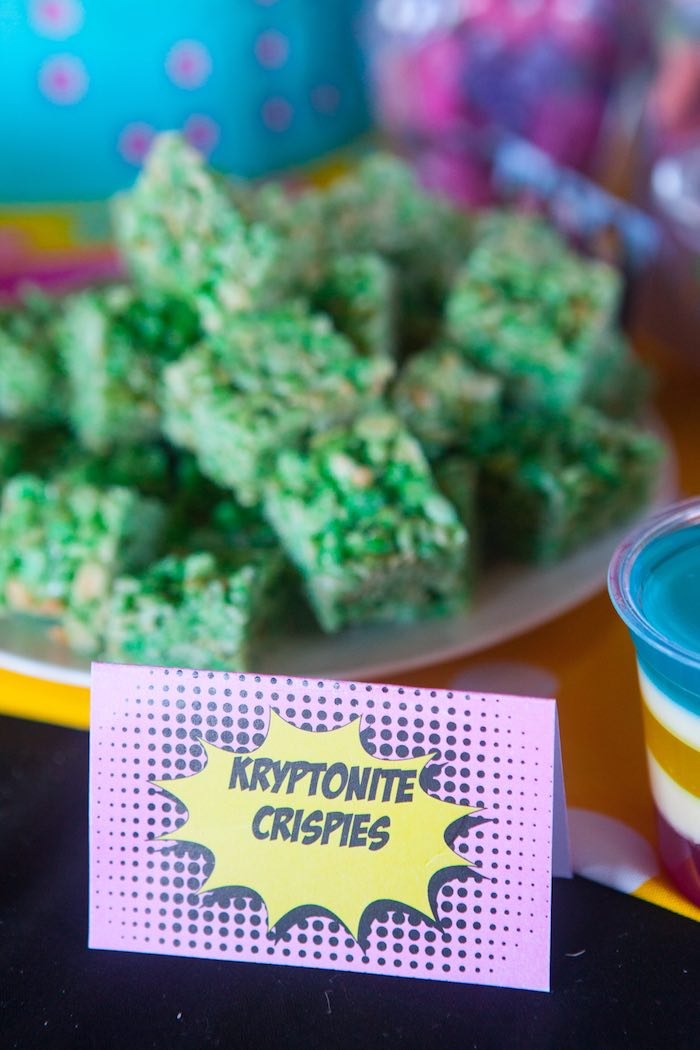 Kryptonite Krispies from a Girly Superhero Birthday Party via Kara's Party Ideas KarasPartyIdeas.com (15)