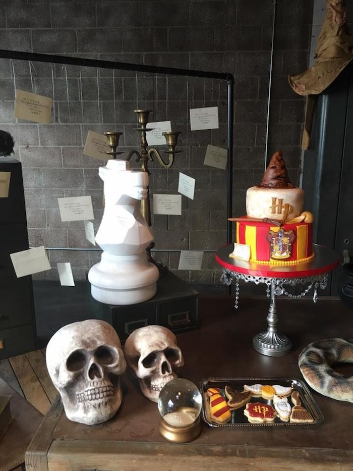 Cake + Decor from a Harry Potter Birthday Party via Kara's Party Ideas KarasPartyIdeas.com (39)