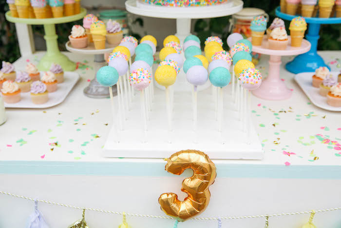 Cake Pops from an Ice Cream Inspired Birthday Party via Kara's Party Ideas | KarasPartyIdeas.com (10)