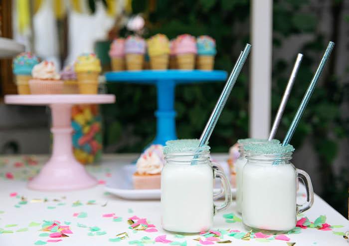 Drinks from an Ice Cream Inspired Birthday Party via Kara's Party Ideas | KarasPartyIdeas.com (9)