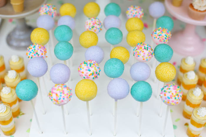 Cake Pops from an Ice Cream Inspired Birthday Party via Kara's Party Ideas | KarasPartyIdeas.com (4)