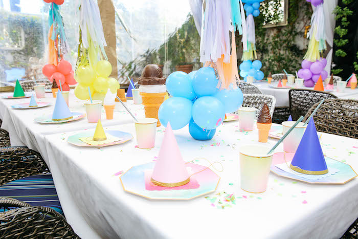 Guest Table from an Ice Cream Inspired Birthday Party via Kara's Party Ideas | KarasPartyIdeas.com (18)