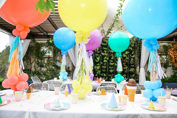 Guest Tables from an Ice Cream Inspired Birthday Party via Kara's Party Ideas | KarasPartyIdeas.com (17)