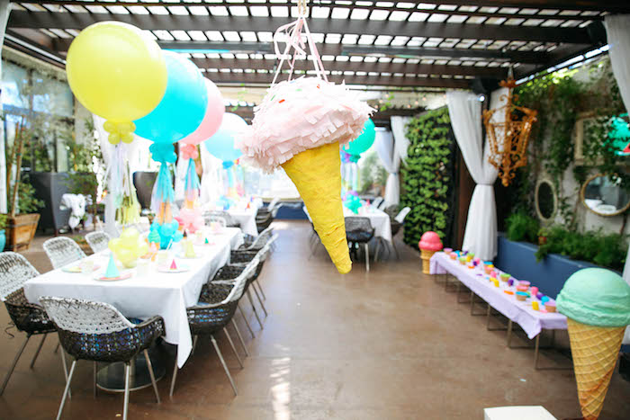 Ice Cream Cone Piñata from an Ice Cream Inspired Birthday Party via Kara's Party Ideas | KarasPartyIdeas.com (15)
