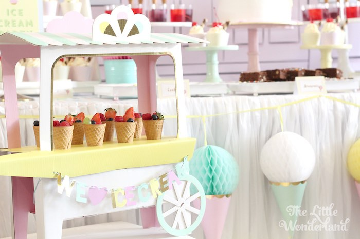 Mini Ice Cream Stand from an Ice Cream Parlor Birthday Party via Kara's Party Ideas KarasPartyIdeas.com (8)