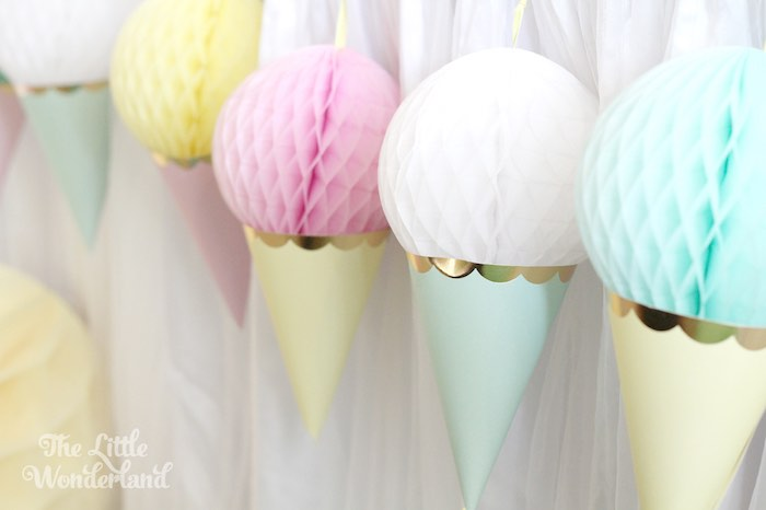Ice Cream Cone Tissue Ball Banner from an Ice Cream Parlor Birthday Party via Kara's Party Ideas KarasPartyIdeas.com (7)