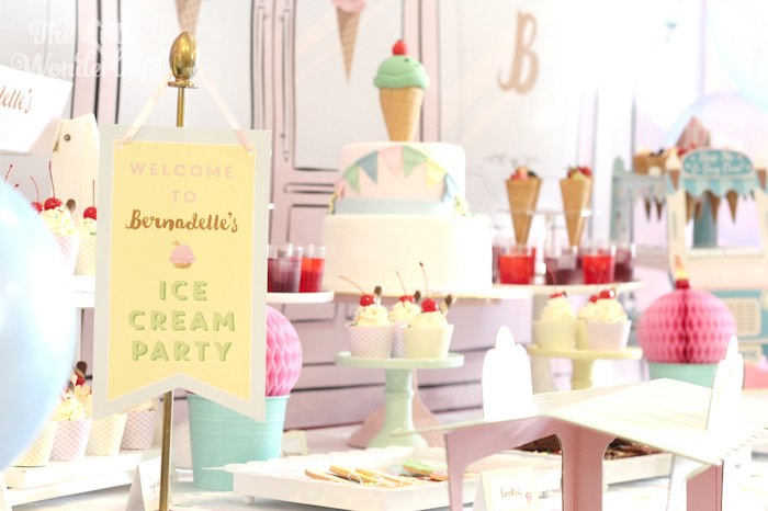 Cake + Sweets + Decor from an Ice Cream Parlor Birthday Party via Kara's Party Ideas KarasPartyIdeas.com (6)