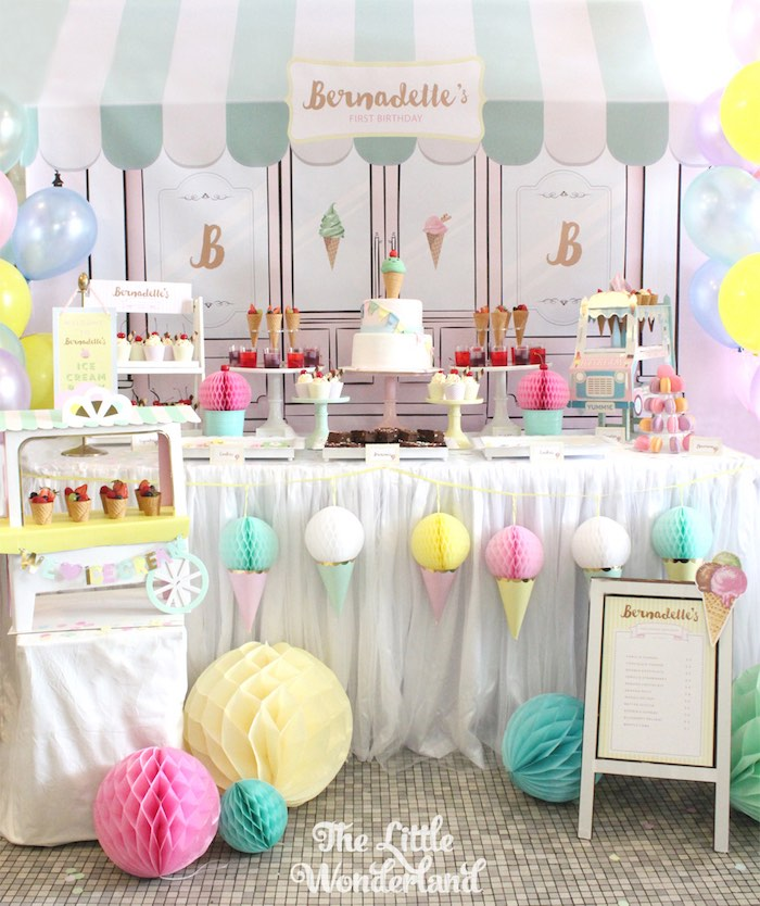 Sweet Table from an Ice Cream Parlor Birthday Party via Kara's Party Ideas KarasPartyIdeas.com (5)