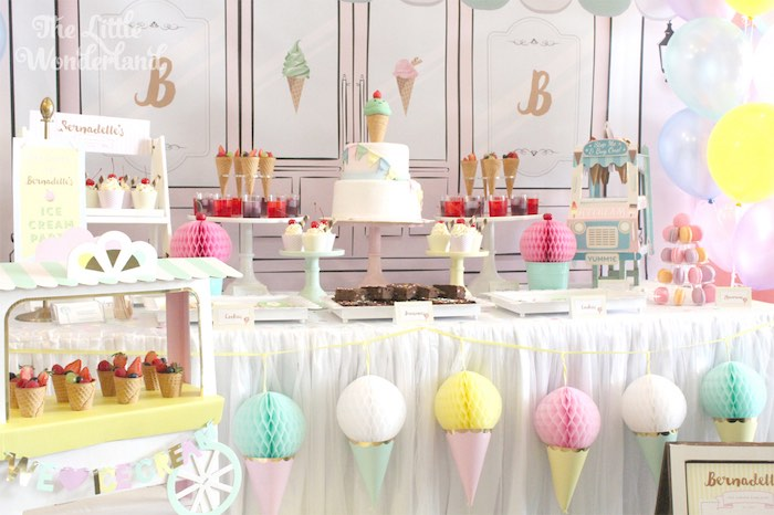 Sweet Table Details from an Ice Cream Parlor Birthday Party via Kara's Party Ideas KarasPartyIdeas.com (4)
