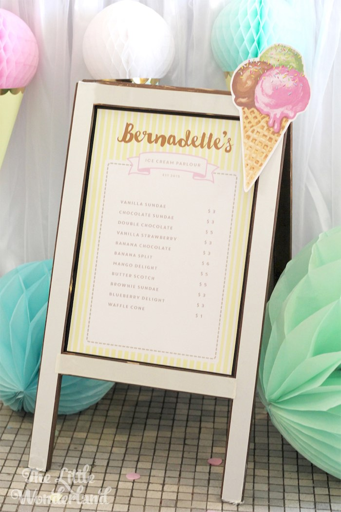 Sign from an Ice Cream Parlor Birthday Party via Kara's Party Ideas KarasPartyIdeas.com (3)