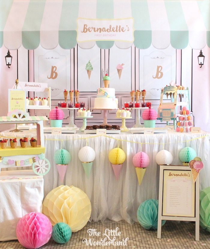 Sweet Table from an Ice Cream Parlor Birthday Party via Kara's Party Ideas KarasPartyIdeas.com (17)