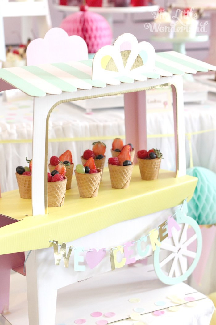Mini Ice Cream Cart from an Ice Cream Parlor Birthday Party via Kara's Party Ideas KarasPartyIdeas.com (16)