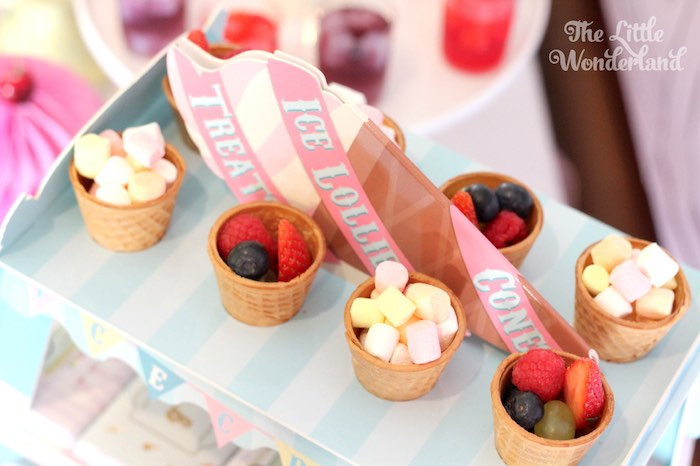 Fresh Berries + Marshmallows Place in Waffle Bowls from an Ice Cream Parlor Birthday Party via Kara's Party Ideas KarasPartyIdeas.com (10)
