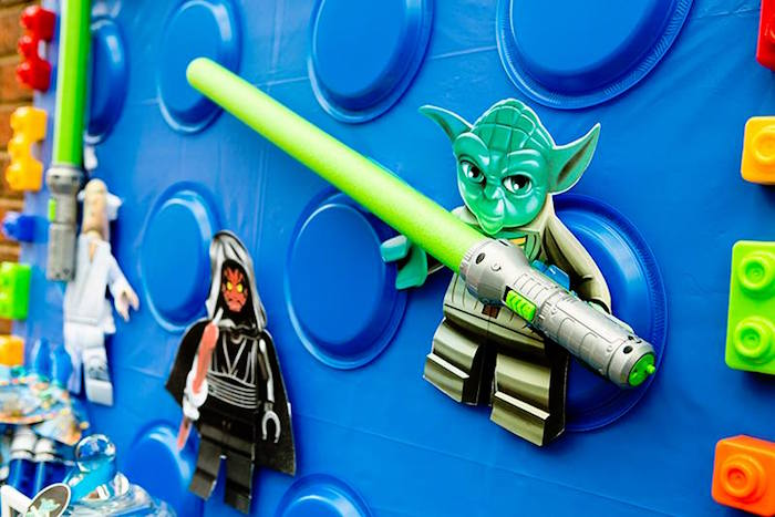 Yoda + Backdrop Detail from a Lego Star Wars Birthday Party via Kara's Party Ideas | KarasPartyIdeas.com | The Place for All Things Party! (17)